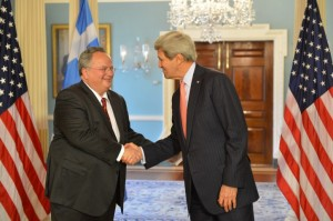 Greek Minister of Foreign Affairs Nikos Kotzias meeting John Kerry, Washington DC , April 20, 2015