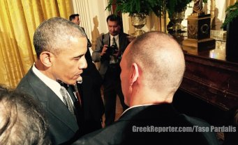 Yianis Varoufakis in the White House on Greek Independence Day, April 2015